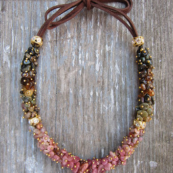 Rainbow necklace / Tourmaline necklace / Tourmaline choker / Gemstone jewelry / Pink tourmaline / Leather jewellery