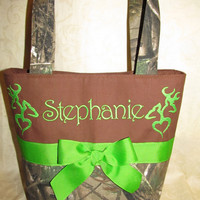 Handmade custom realtree buck and doe deer browning inspired lime and brown purse/  tote/ pocketbook you choose name