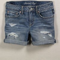 Women's AE Distressed Boyfit Midi Short - American Eagle Outfitters