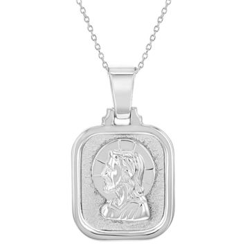 925 Sterling Silver Catholic Face of Jesus Christ Medal Pendant Necklace 19""