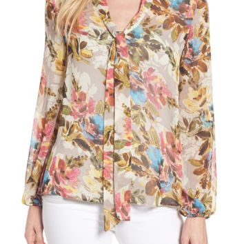 KUT from the Kloth Chie Print Tie Neck Blouse | Nordstrom