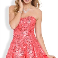 Sequin Short Prom Dress with Tulip Skirt and Exposed Crinoline
