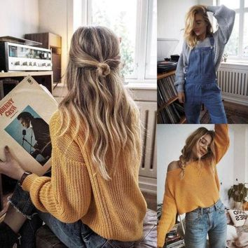 Long Sleeve Oversize Loose Knitted Sweater