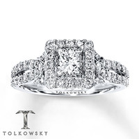Tolkowsky Engagement Ring 1 1/2 cts tw Diamonds 14K White Gold