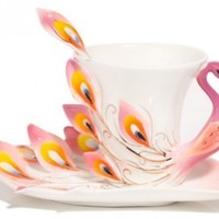 Claybox Hand Crafted Porcelain Enamel Graceful Peacock Tea Coffee Cup Set with Saucer and Spoon, Pink:Amazon:Kitchen & Dining