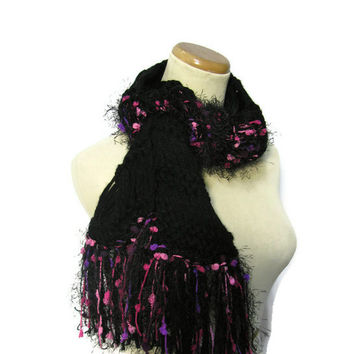 Sale Flaming Fuchsia and Black Hand Knit Scarf