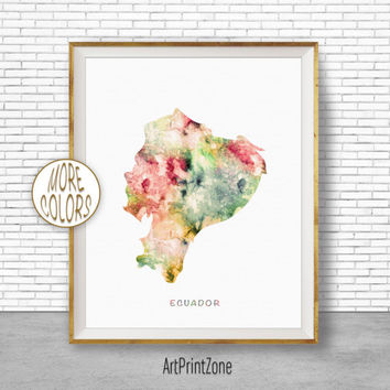 Ecuador Map Art, Ecuador Print, Office Art Print, Watercolor Map, Map Print, Map Artwork, Office Decorations, Country Map, Art Print Zone