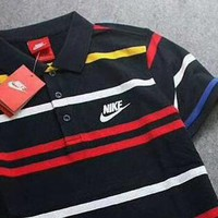 Nike Popular Men Fashion Stripe Lapel Absorb Sweat Breathable T-Shirt Top Blouse I-A-BM-YSHY