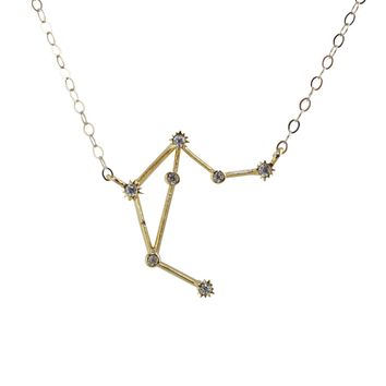 Libra Constellation CZ Outline Necklace