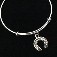 Crystal and Silver Horse Shoe Charm Silver Expandable Adjustable Wire Bangle Bracelet Stacking Handmade Trendy Gift