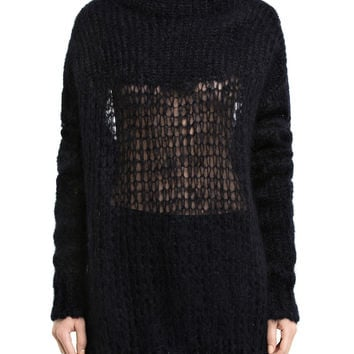Black Knitted Oversized Sweater