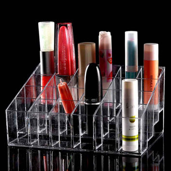 24 Trapezoid Clear Makeup Display Lipstick Stand Case
