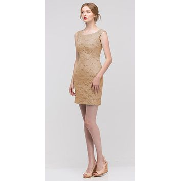 Gold Above Knee Lace Fitted Cocktail Dress Tank Strap