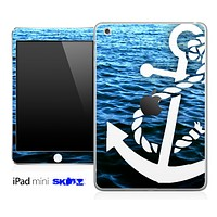 Rough Water and White Anchor Skin for the iPad Mini or Other iPad Versions