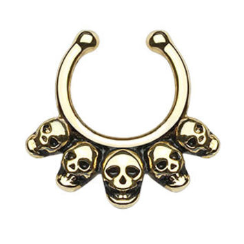Five Linked Skulls Faux Septum Hanger