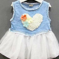 Girl Baby Toddler Clothing Kids Sleeveless Dress Tutu Party Lace Denim skirt