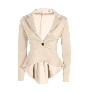Shocking Show New Women Ladies Crop Frill Shift Slim Fit Peplum Blazer Jacket Coat