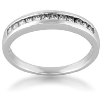 Rhodium Plated 925 Sterling Silver Cubic Zirconia Diamond CZ Channel-Set Eternity Band Ring for Wom