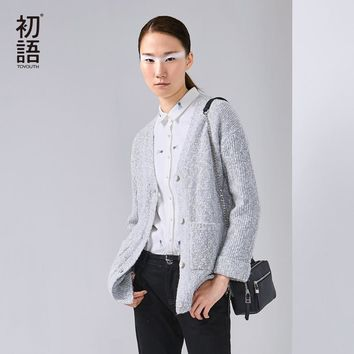 Toyouth 2017 New Arrival Women Acrylic Cardigans Sweaters Autumn Casual Pockets Button V-Neck Sweaters