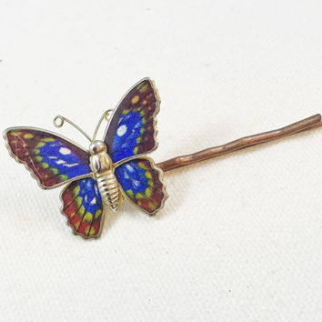 Blue butterfly bobby pin, hair pin, vintage butterfly, hair clip, upcycled enamel butterfly brooch pin