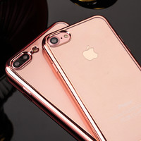 Luxury Electroplating Crystal Clear Soft TPU Cases For iPhone 5 5S SE 6 6S 6sPlus 7 7Plus Phone Cover Ultrathin Cell Phone Case