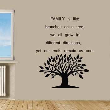Family Tree Wall Decals Quote Floral Tree Branches Vinyl Decal Sticker Living Room Interior Design Home Art Mural Nursery Room Decor KG574
