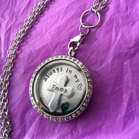 Sale - Memorial Necklace - Memorial Locket - Remembrance Necklace - Glass Floating Memory Locket Personalized Cross Charm - Personalized Je