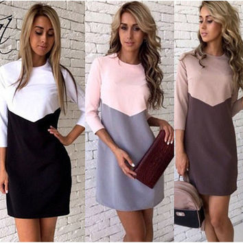 Color Block 3/4 Sleeve Sheath Dress
