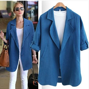 2017 American Style Women Spring Fashion Casual Solid Notched Suits Outwear Ladies Office Formal Linen Plus Size Blazer Brand