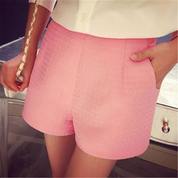 2017 Brand New Fashion Women Shorts Plaid Summer Style Slim Fit Wide Leg High Waist Casual Soild Candy Color Female Shorts  Hot
