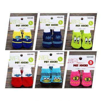 4 PCS set Small Pet Dog Doggy Shoes Lovely Soft Warm Cotton Socks Clothes Apparels For S-M Dress up Pet Grooming Accessories