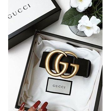 GUCCI Belt Classic production Woman Men Fashion Smooth Buckle Belt Leather Belt + Gift Box