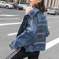 """OFF-White"" Women Casual Fashion Embroidery Letter Long Sleeve Cardigan Lapel Denim Coat"