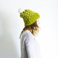 Knit Pom Pom Ski Hat Fair Isle Slouchy Beanie Toque | THE OXFORD | Lemongrass & Fisherman