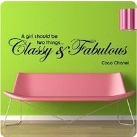 "Coco Chanel Quote Wall Decals Decor ""A Girl Should Be Two Things,classy&fabulous"" Inspirational Words Wall Art Stickers Mural for Girls Bedroom Dorm Shopwindow Birthday Gift for Girl - 48""W x 12""H black"
