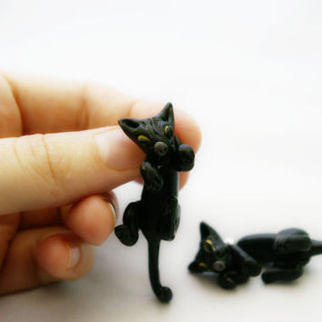 new super design fake gauge plug two part earrings black cat, Polymerclay, handmade