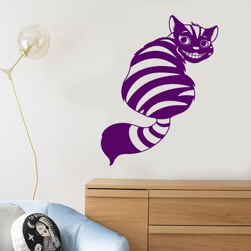 Vinyl Wall Decal Cartoon Funny Smiling Cheshire Cat Children's Room Decor Stickers (2570ig)
