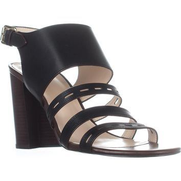 Cole Haan Lavelle High Heel Sandals, Black Leather, 8.5 US