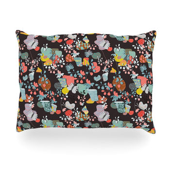 "Akwaflorell ""At Home"" Black Multicolor Oblong Pillow"