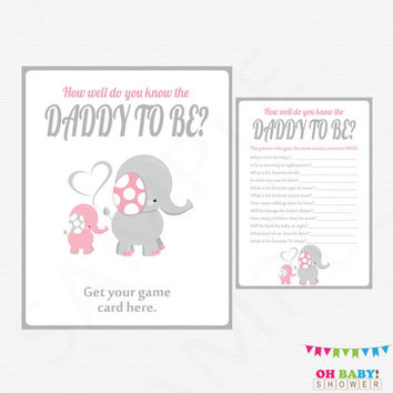 Elephant Baby Shower, How well do you know the DADDY to be, Pink Gray, Instant Download, Girl Baby Shower Games, Sign, Printable, EL0005-LP