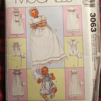 SALE Uncut McCall's Sewing Pattern, 3063! All Sizes Infants/Toddler/Baby, Christening Gown/Rompers/Bonnets/Dress/Unisex/Boy/Girl/Summer/Spri