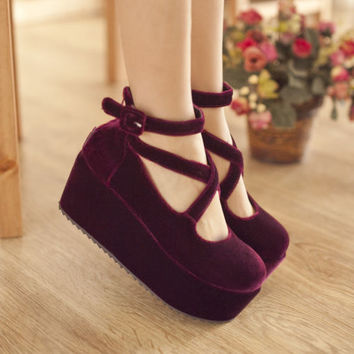 Womens Wedge High Heels Fashion Faux Suede Round Toe Ankle Strap Pumps Shoes SZ