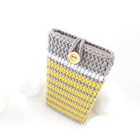 Huawei P10 phone cover, striped iPhone 7 cozy, vegan Moto G5 sock, Samsung S8 cover, LG K10 pouch, HTC U Play sleeve, grey yellow Pixel case