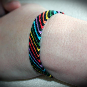 LGBT Gay and Lesbian Rainbow Friendship Bracelet with black
