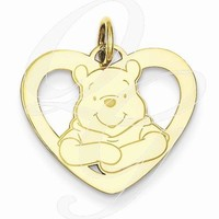 Gold-Plated SS Disney Winnie The Pooh Heart Charm