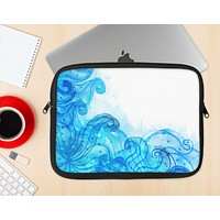 The Blue Water Color Flowers Ink-Fuzed NeoPrene MacBook Laptop Sleeve