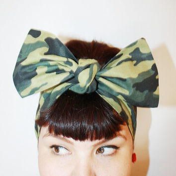 Bow style, Vintage Inspired Head Scarf, Camouflage