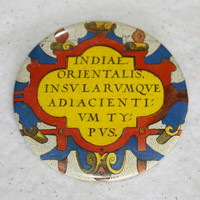 "Antique Map Latin Crest Pin - 2.25"" History Buff Cool Gift Colorful Unique Eclectic Scholarly Professor Pinback Button"