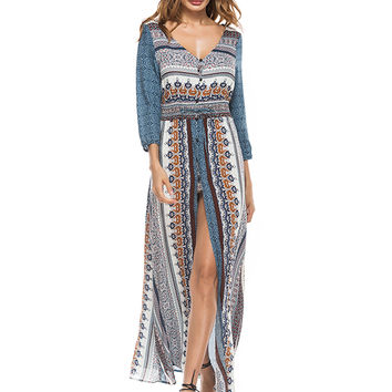 Blue V Neck Mixed Folk Print Split Maxi Dress