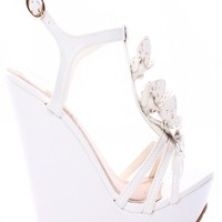 WHITE FAUX LEATHER FLOWER ACCENT ANKLE STRAP PLATFORM WEDGE